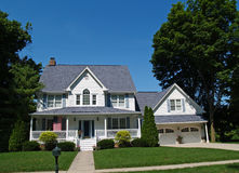 Two-story White Home with Garage Royalty Free Stock Photography