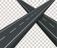 Two straight paved road. The intersecting roads. Stock Photography