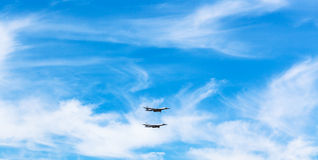 Two strategic bomber airplanes in white clouds Stock Photography