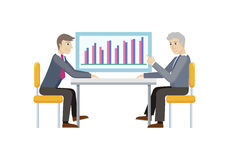 Two Strategic Management Managers Demonstrate Sale. Two strategic management managers demonstrating sales on chart diagram isolated. Strategic planning Stock Image