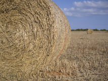 Two straw bales in the countryside stock photo