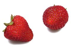 Two strawberries Royalty Free Stock Image