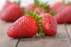 Two strawberries closeup Stock Photography