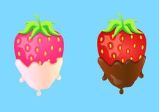 Two strawberries in cream and chocolate. Vector illustration two strawberries in cream and chocolate on blue background Royalty Free Stock Images