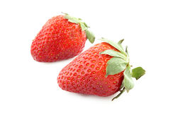 Two strawberries isolated Stock Photo