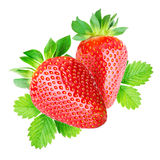 Two strawberries isolated Royalty Free Stock Photography