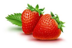 Two strawberries and leaf Stock Photos