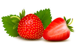 Two strawberries with leaves . Royalty Free Stock Images