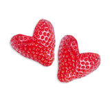 Two strawberries in the shape of heart Stock Photo