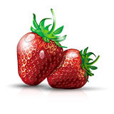Two strawberries with waterdrops Royalty Free Stock Photography