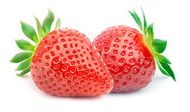 Free Two Strawberries With Leaves Isolated Royalty Free Stock Photography - 67916017