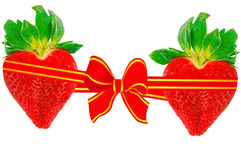 Two strawberry hearts Royalty Free Stock Photos