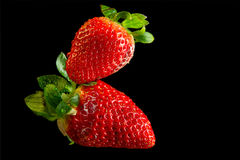 Two Strawberry macro. Two red juicy strawberry macro Royalty Free Stock Images