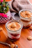 Two Strawberry Soft Served Filled Cups With Cookie Toppings Royalty Free Stock Image