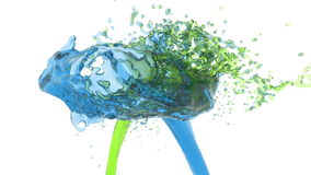 Two streams of fluids collide. blue and green. Two streams of fluids encountered full hd, 3d render. blue and green stock footage