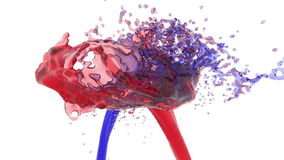 Two streams of fluids collide. blue and red. Two streams of fluids encountered full hd, 3d render, blue and red stock video footage