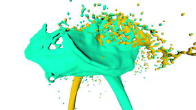 Two streams of fluids collide. 3d render stock video footage