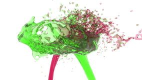 Two streams of fluids collide. red and green. Two streams of fluids encountered full hd, 3d render. red and green stock video