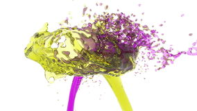 Two streams of fluids collide. violet and yellow. Two streams of fluids encountered full hd, 3d render. violet and yellow stock footage
