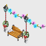 Two street lamp, bench and colorful garland Royalty Free Stock Photo