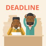 Two stressed african-american employees. A two african-american empoloyees is burnout  having a problem meeting the deadline, so many paper works to attend to. A Stock Photography