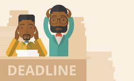Two stressed african-american employees. A two african-american empoloyees is burnout  having a problem meeting the deadline, so many paper works to attend to. A Royalty Free Stock Photography