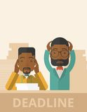 Two stressed african-american employees. A two african-american empoloyees is burnout  having a problem meeting the deadline, so many paper works to attend to. A Royalty Free Stock Image