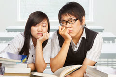 Two stressful students Royalty Free Stock Image