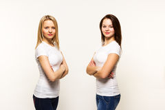 Two strict woman of the sister twins Royalty Free Stock Photography
