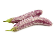 Two striped aubergines Royalty Free Stock Image