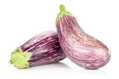 Fresh Raw purple striped Eggplant isolated on white. Two striped purple eggplants isolated on white background Stock Photography