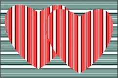 Two striped red heart on striped green background. Vector. Royalty Free Stock Image