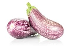 Fresh Raw purple striped Eggplant isolated on white. Two striped violet eggplants isolated on white background Stock Images