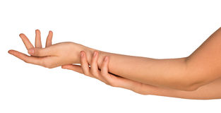 Two stroking hands and arms Royalty Free Stock Images