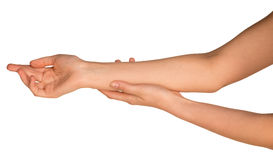 Two stroking hands and arms Royalty Free Stock Photo