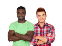 Two strong and casual young men Stock Images