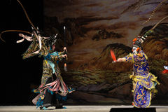 "Two strong meet- Beijing Opera"" Women Generals of Yang Family"" Royalty Free Stock Photography"