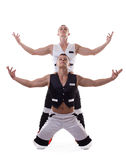 Two strong men show dance performance isolated Stock Photos