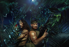 Two strong soldiers in the rain forest stock images