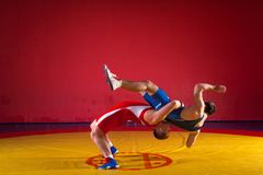 Two strong wrestlers. Two young men wrestlers in blue and red wrestling tights are wrestlng and making a hip throw on a yellow wrestling carpet in the gym, sied Stock Image