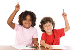 Two student children Stock Photos