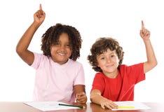 Two student children stock photos