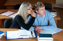 Two student in classroom Stock Images