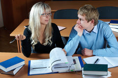 Two student in classroom Stock Photo