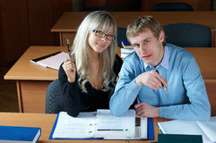 Two student in classroom Royalty Free Stock Photo