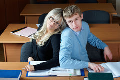 Two student in classroom Royalty Free Stock Photos