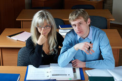 Two student in classroom Stock Photography