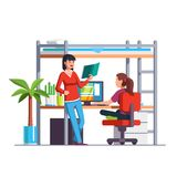 Two student girls studying, doing homework royalty free illustration