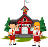 Two student with school building background. Illustration of two student with school building background Stock Photo