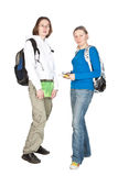 Two Students with backpack and notebook. Stock Photos